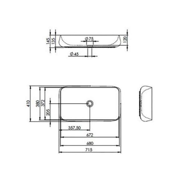 AREZZO design Agnes pultra ültethető mosdó