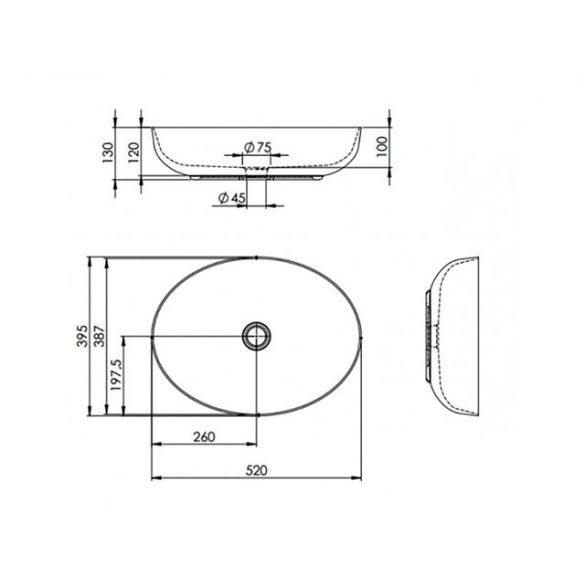 AREZZO design Rika pultra ültethető mosdó
