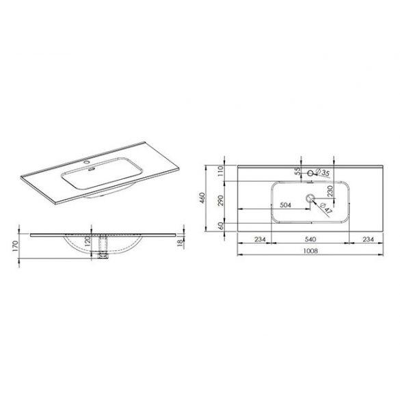 AREZZO design Skappa 100 cm-es mosdó