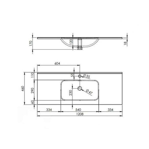 AREZZO design Skappa 120 cm-es mosdó
