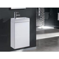 Mini 40 egyajtós fehér alsószekrény mosdóval