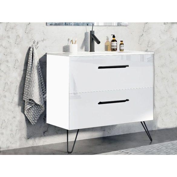 AREZZO Carmel 90 cm-es alsószekrény 2 fiókkal magasfényű fehér