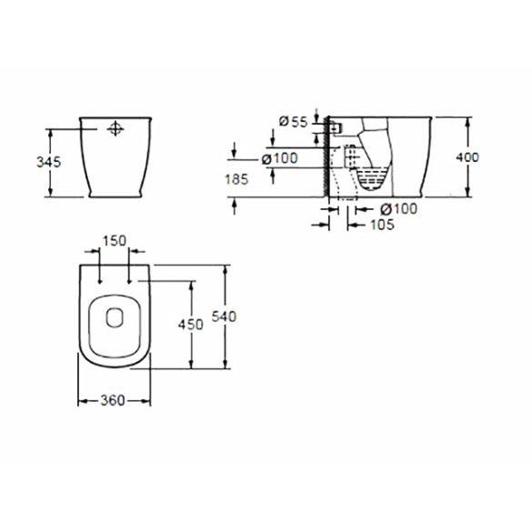 AREZZO design Charlton álló wc alsós/hátsós AR-404