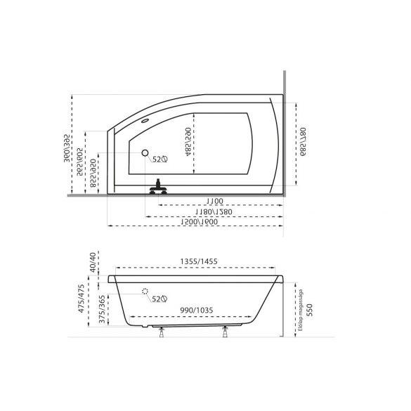 M-acryl Minima aszimmetrikus akril kád