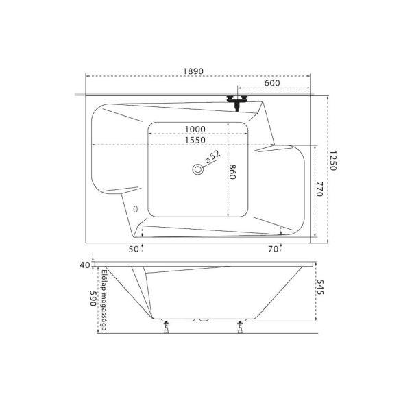 M-Acryl Grande különleges akril kád