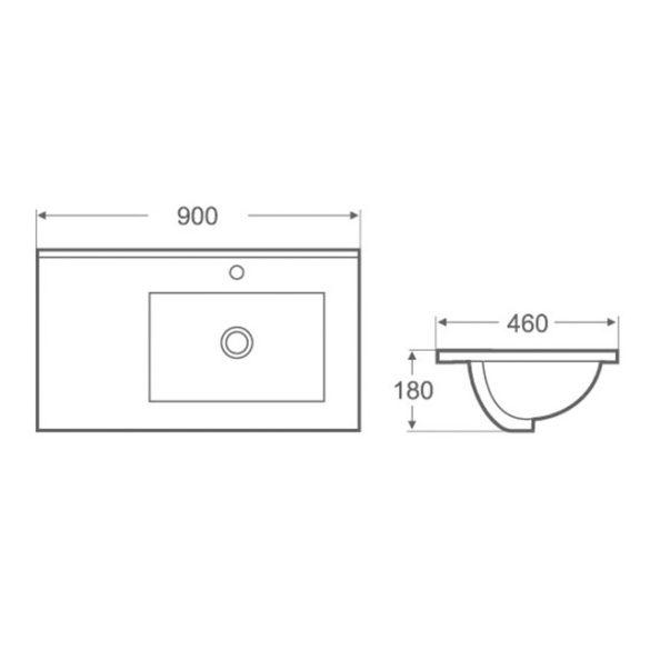 AREZZO design Texas 90x46 aszimmetrikus beépíthető mosdó jobbos AR-090J