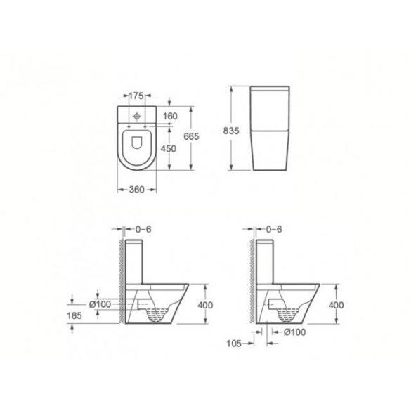 AREZZO design INDIANA rimless kombi WC  rövid AR-102BR