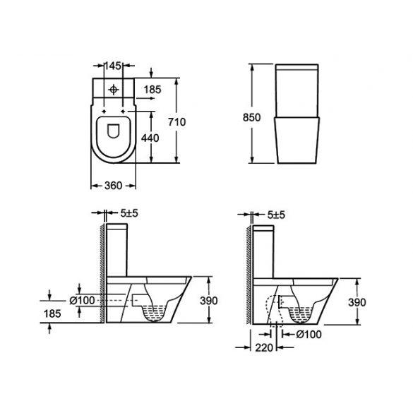 AREZZO design Indiana kombi wc alsós/hátsó kifolyású AR-102 ( 2 doboz )
