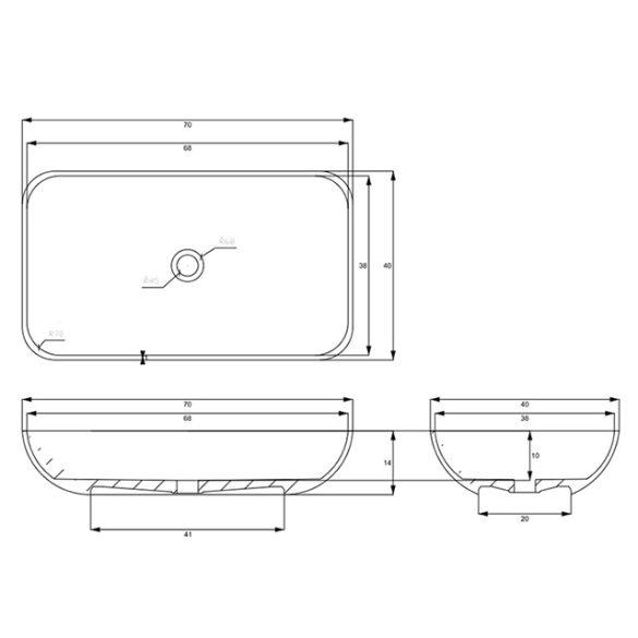 AREZZO design Fresi pultra ültethető mosdó
