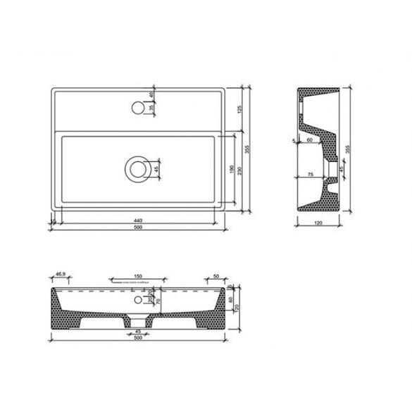 AREZZO design Modelo pultra ültethető mosdó