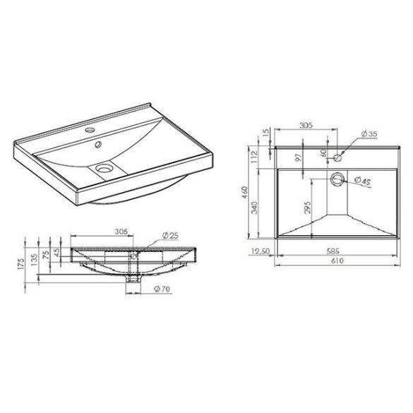 AREZZO design Maxxi 60 cm-es mosdó