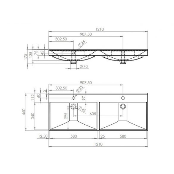 AREZZO design Maxxi 120 cm-es dupla mosdó