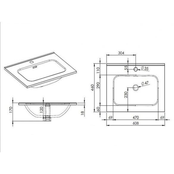 AREZZO design Skappa 60 cm-es mosdó