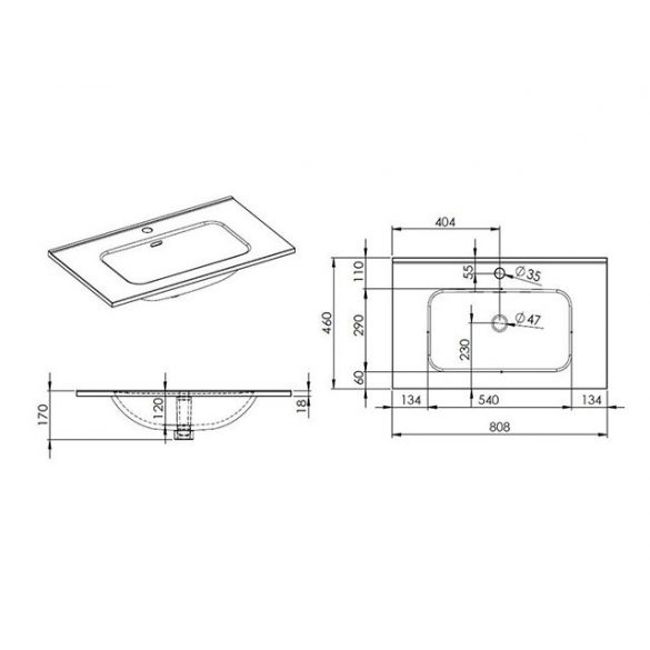 AREZZO  design Skappa 80 cm-es mosdó