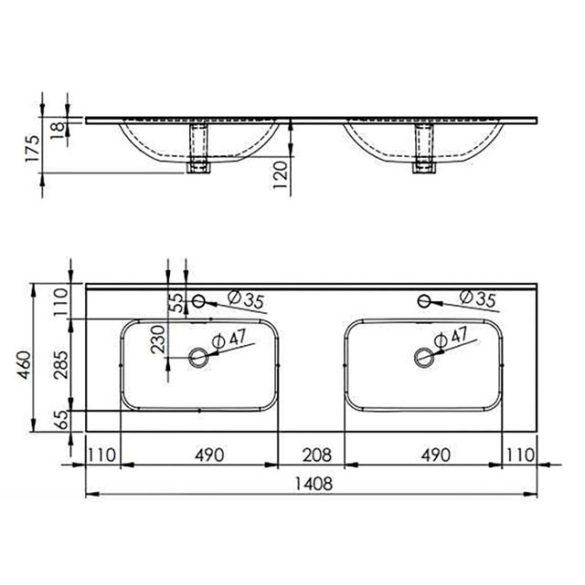 AREZZO design Skappa 140 cm-es dupla mosdó