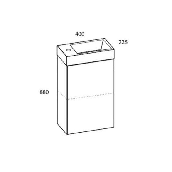 AREZZO Mini 40 egyajtós fehér alsószekrény mosdóval