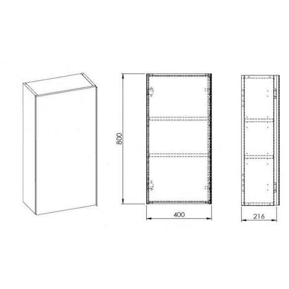 AREZZO Monterey 40x21,6 cm felsőelem 1 ajtóval magasfényű fehér