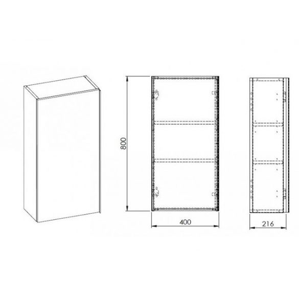 AREZZO Monterey 40x21,6 cm felsőelem 1 ajtóval magasfényű antracit