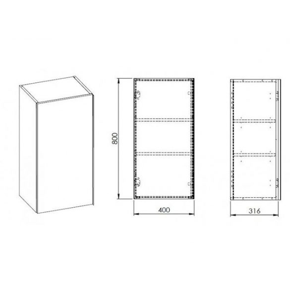 AREZZO Monterey 40x31,6 cm felsőelem 1 ajtóval magasfényű antracit