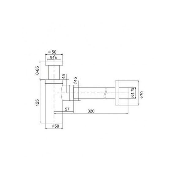 AREZZO design Round matt fekete mosdószifon