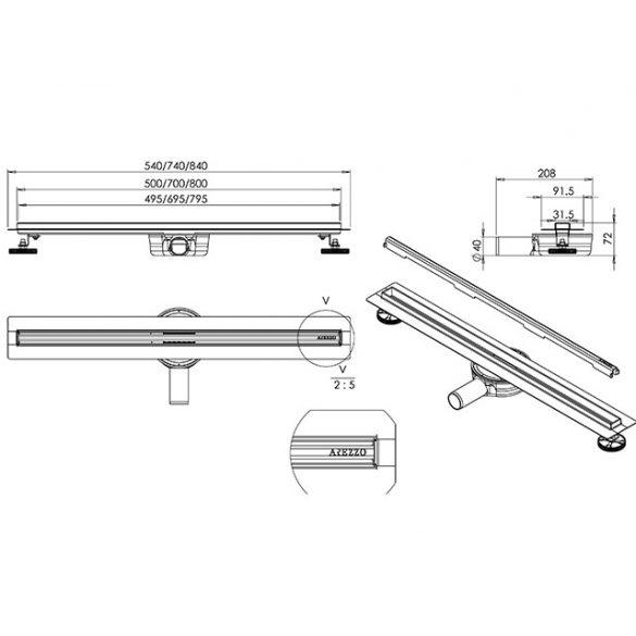 AREZZO design keskeny 500 mm-es rozsdamentes acél folyóka Steel ráccsal AR-500K