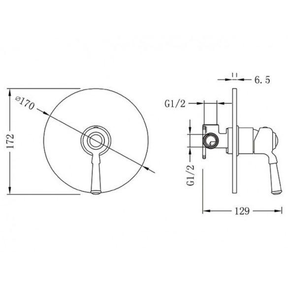 AREZZO design Oldfield falsík alatti zuhanycsaptelep AR-51068