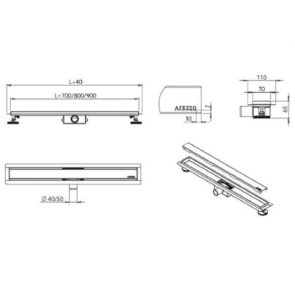 AREZZO design 800 mm-es rozsdamentes acél folyóka Steel ráccsal AR-800
