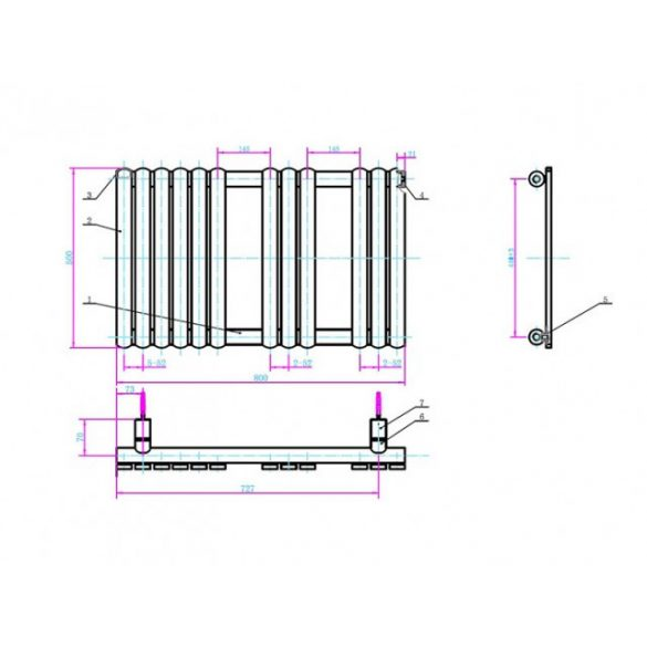 AREZZO design Flat White 800x500 törölközőszárítós radiátor AR-FW8050