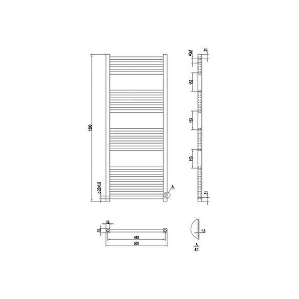 AREZZO design Minimal White 1200x500 egyenes törölközőszárítós radiátor, fehér AR-MW12050