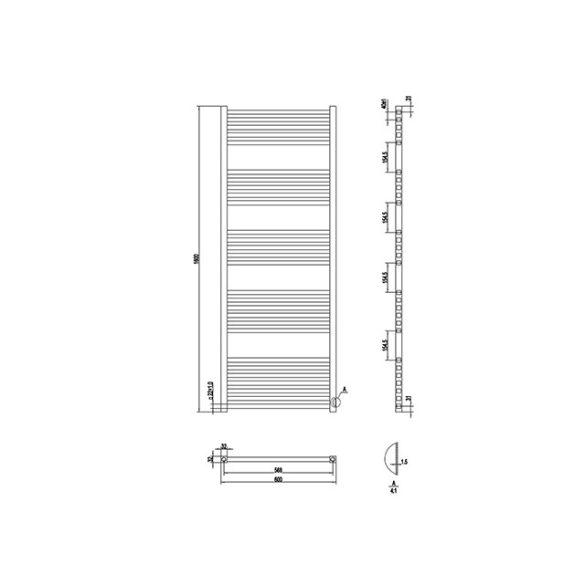 AREZZO design Minimal White 1600x600 egyenes törölközőszárítós radiátor, fehér AR-MW16060