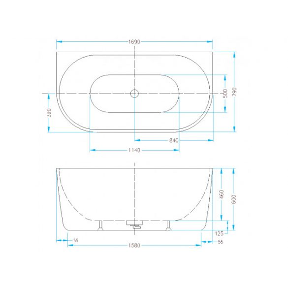 AREZZO design Silk szabadon álló kád, matt AR-SILK170