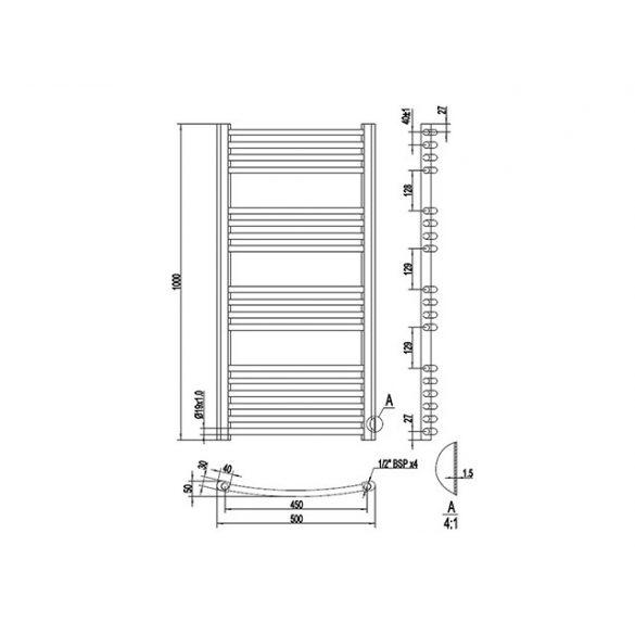 AREZZO design Simple White 1000x500 íves törölközőszárítós radiátor, fehér AR-SW10050