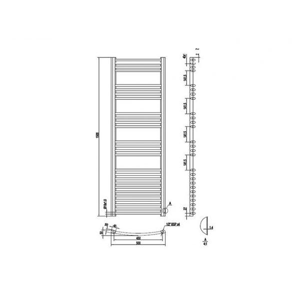 AREZZO design Simple White 1500x500 íves törölközőszárítós radiátor, fehér AR-SW15050