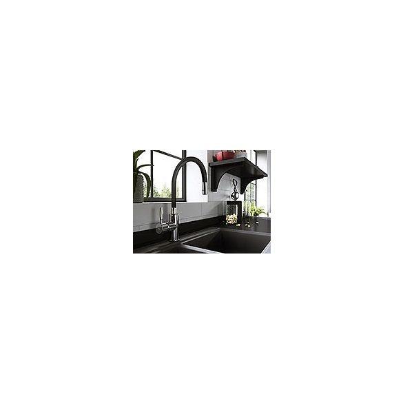Zumba - Álló mosogató csaptelep flexibilis kifolyócsővel, fekete