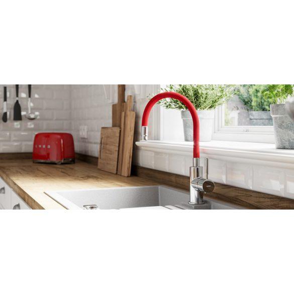 Zumba - Álló mosogató csaptelep flexibilis kifolyócsővel, piros
