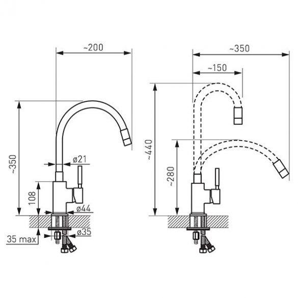 Zumba - Álló mosogató csaptelep flexibilis kifolyócsővel, ezüst