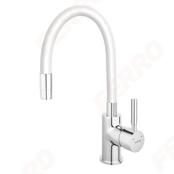 Zumba - Álló mosogató csaptelep flexibilis kifolyócsővel, fehér