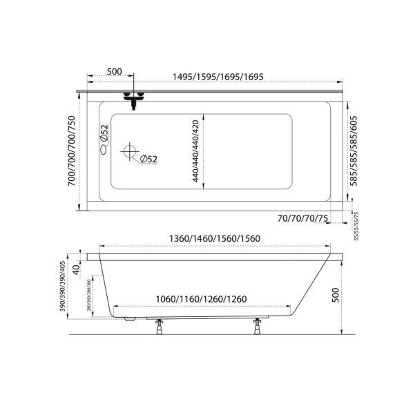 M-acryl Eco egyenes kád - 150x70 cm -150 L - többféle méret