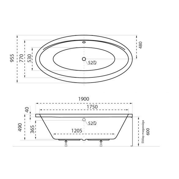 Oval különleges akril kád
