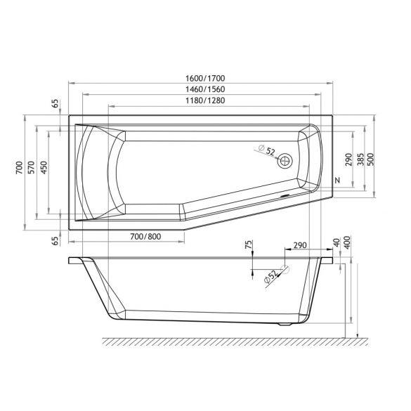 M-acryl Praktika aszimmetrikus akril kád