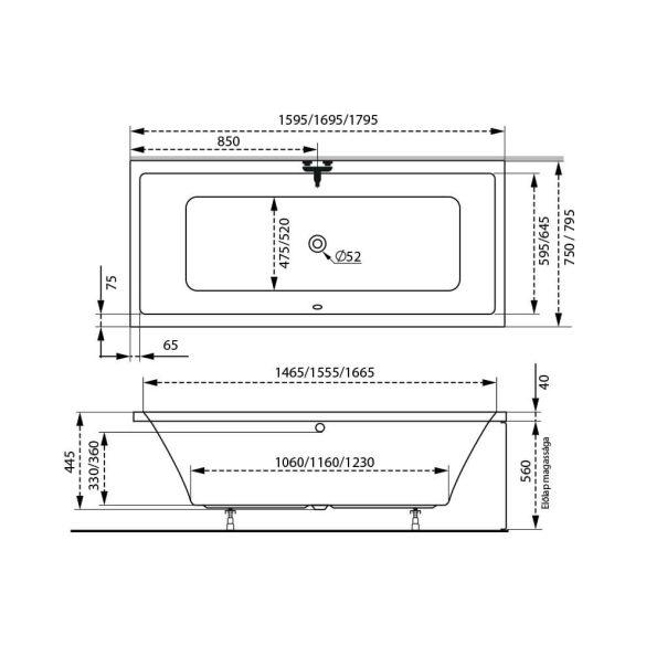 M-acryl Sabina egyenes akril kád - 160x75 cm - 170 L - többféle méret