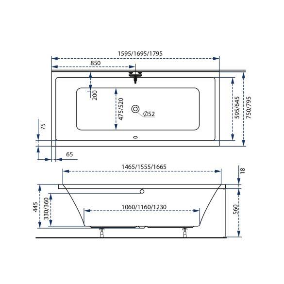 M-acryl Sabina Slim egyenes akril kád - 160x75 cm -170 L - többféle méret